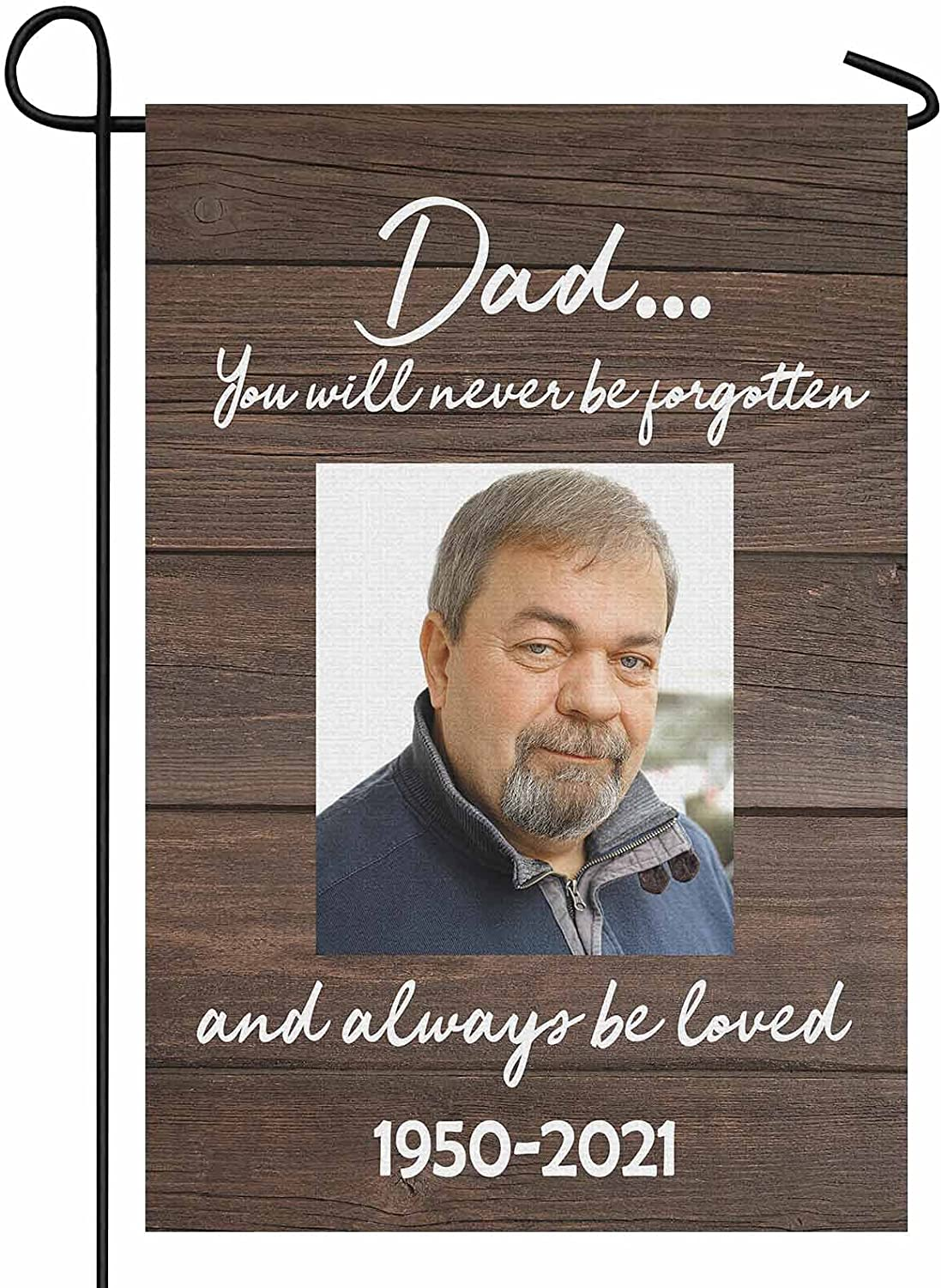 YesCustom Personalized Photo In Memory of Dad Garden Flag 12.5