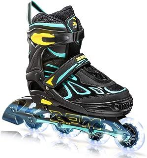 2PM SPORTS Vinal Girls Adjustable Inline Skates with Light up Wheels Beginner Skates Fun Illuminating Roller Skates for Ki...