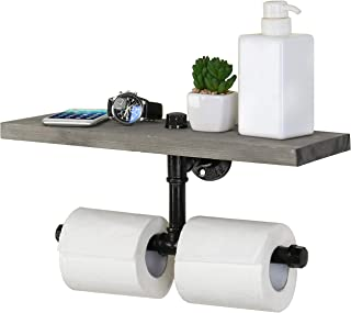 MyGift Wall-Mounted Industrial Pipe Dual-Roll Toilet Paper Holder with Vintage Gray Wood Shelf
