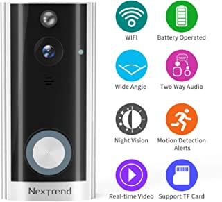 Smart Doorbell, NexTrend HD Doorbell Camera Battery Operated Wireless WiFi Doorbell Cam with Two Way Audio Night Vision PIR Motion Detection Support TF Card Remote View on Free APP -Silver