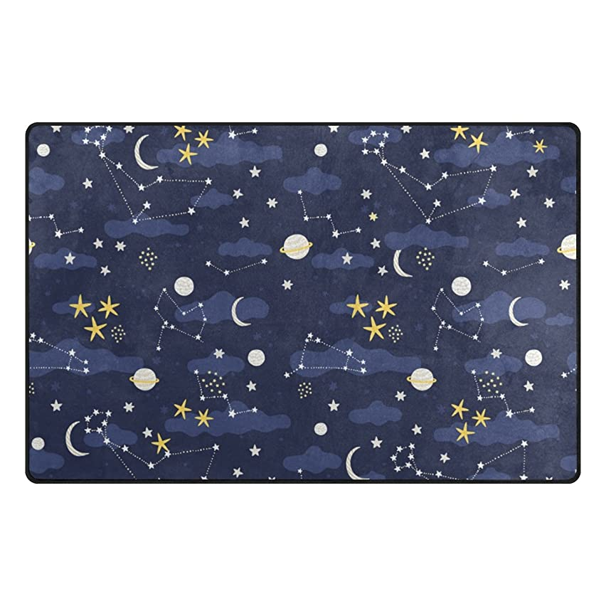 U LIFE Stars Moon Sun Galaxy Space Nebula Constellation Large Doormats Area Rug Runner Floor Mat Carpet for Entrance Way Living Room Bedroom Kitchen Office 63 x 48 Inch
