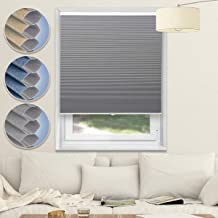 Blackout Blinds Cordless Shades Cellular Shades Honeycomb Window Blinds for Home and Office,Grey-White, 34x64