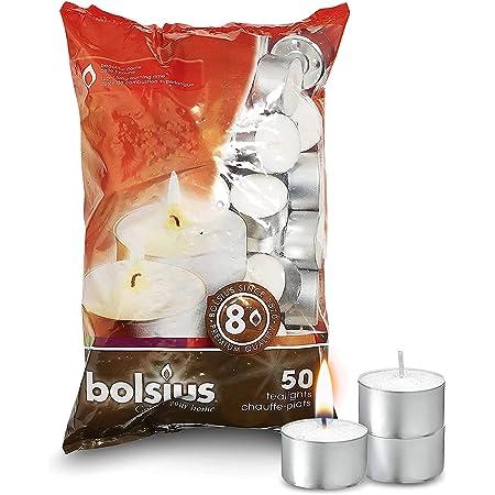 Bolsius Lot de 50 bougies chauffe-plat 8 heures Blanc 7 x 18 x 32 cm