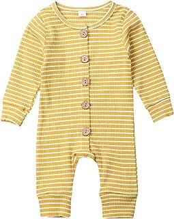 Luckinbaby Baby Unisex Romper Jumpsuit, Basic Plain Rib Stitch Stripe Long Sleeve Bodysuit Clothes for Infant Boy Girl