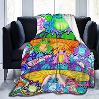 YongColer Keep Warm Sherpa Plus Velvet Throw Wrap for Bed Couch Sofa, Soft Queen Size Camping Blanket Cloak, Watercolor Frogs Trippy Mushroom Cartoon Blankets