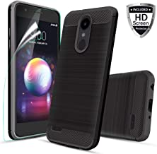 LG K30 Case,LG Premier Pro LTE/Xpression Plus/CV3 Prime/K10 2018/Phoenix Plus/Harmony 2 Phone Case with Screen Protector Carbon Fiber Brushed Texture [Shock Resistant Slim Thin] Soft TPU Cover, Black
