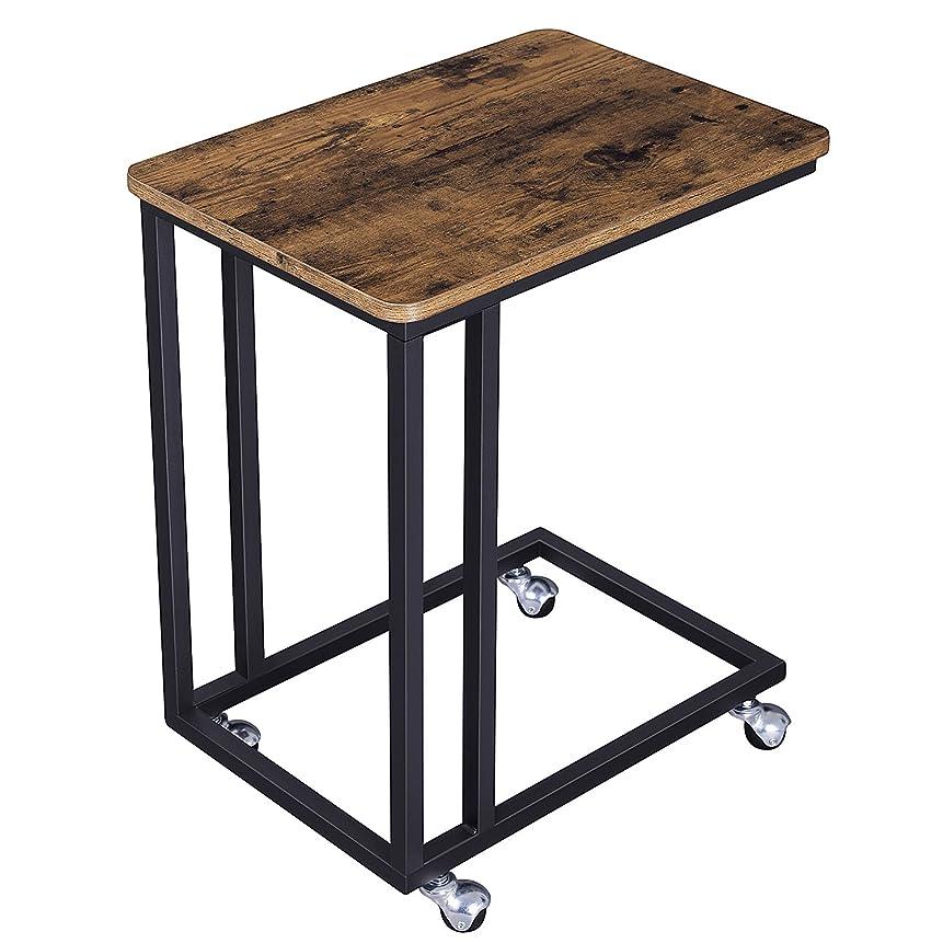 心配レインコート小数VASAGLE サイドテーブル ナイトテーブル 幅50x奥行35x高さ60cm 耐荷重20kg 広い天板 キャスター付き 質感良い ヴィンテージ NLNT50ZV1