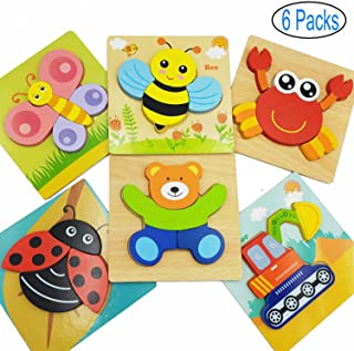Jwxstore Wooden Jigsaw Puzzles Set for Toddlers Kids 1 2 3 Years Old, Boys and Girls Educational Toys Gift with 5 Animals & 1 Vehicle Pattern, Best Gifts for Your Kids, Gift Box Packed
