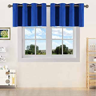 YGO Thermal Insulated Blackout Kitchen Valances, Energy Efficient Grommet Top Valance Drapes for Small Window Royal Blue Double Panels W 52 x L 18 Inch