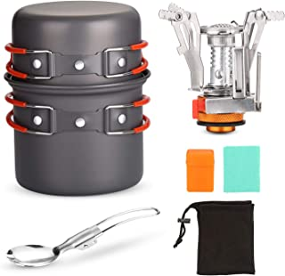 Odoland 6pcs Camping Cookware Mess Kit with Lightweight Pot, Stove, Spork and Carry Mesh Bag, Great for Backpacking Outdoor Camping Hiking and Picnic