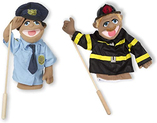 Melissa & Doug Puppet Bundle - Police Officer and Firefighter