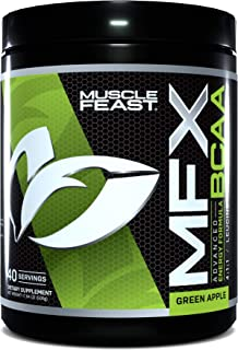 MUSCLE FEAST MFX BCAA, Amino Energy with Electrolytes, Super Hydrating Formula, Vegan, 40 Servings, 500 Gra...