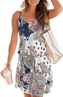 Happy Sailed Women Halter Neck Boho Print Sleeveless Casual Mini Beachwear  Dress Sundress 81caec947b