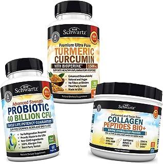 Probiotic 40 Billion CFU + Turmeric Curcumin with BioPerine 1500mg + Collagen Peptides Powder - Supports Gut Health & Whol...
