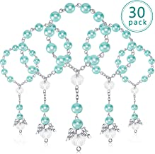 30 Pieces Baptism Rosary Acrylic Rosary Beads Mini Rosaries with Angel for The First Communion Baptism Party Favors (Blue Gold)