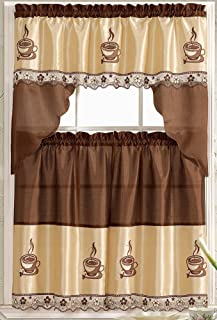 Coffee Embroidered Kitchen Curtain Tiers & Swag Set Brown-beige - 60x36 & 30x36 by LiveDeco
