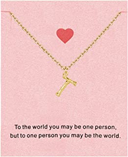 Small Bamboo Initial Necklace,Gold Alphabet Letter Pendant Necklace for Women