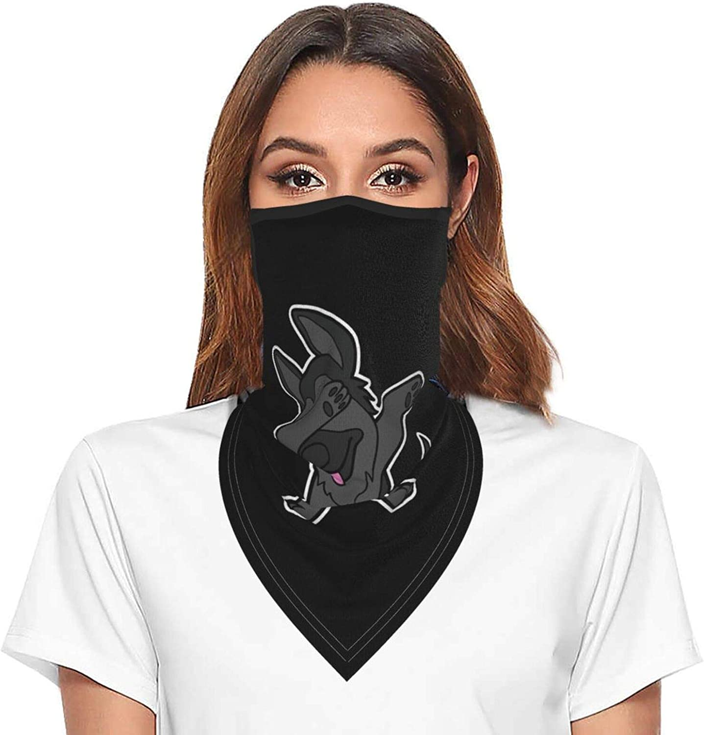 Black Hair German Shepherd Dabbing Neck Gaiter Face Mask With Ear Loops Outdoor Breathable Scarf For Men Women