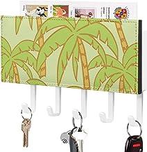 Crochet de clé fixé au mur, trieur de courrier, impression d'été tropicale d'usine de feuille verte avec le décor à la mai...