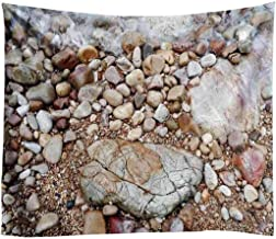 Vic Gray Beach Cobblestone Tapestry Art Home Decor Picnic Blanket Mat Table Cloth Bedroom Tapestries Wall Hanging, 200x150cm/78''x 58''