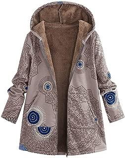 sheart 9 Womens Parka Coats Pockets Floral Print Winter Warm Hooded Buttons Fluffy Zipper Jacket Outwear Plus Size