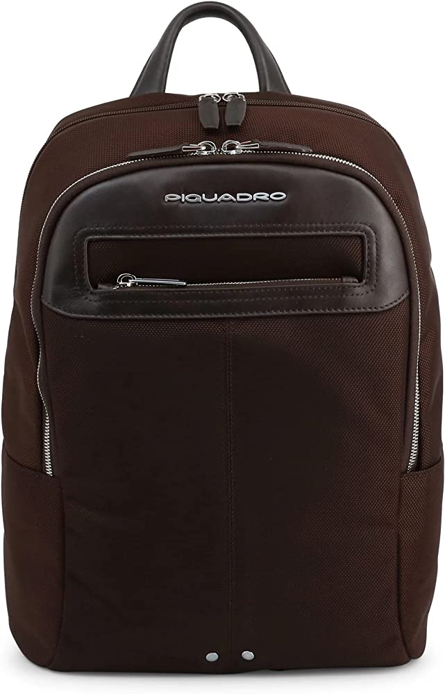 Piquadro, zaino porta tablet,pc portatile, porta laptop, in pelle e tessuto, marrone