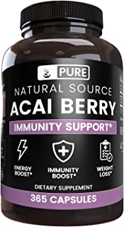 Acai Berry Extract, 365 Capsules, 3-Month Supply, No Magnesium Filler, Potent Antioxidant, Gluten-Free, USA-Made, 1800 mg ...