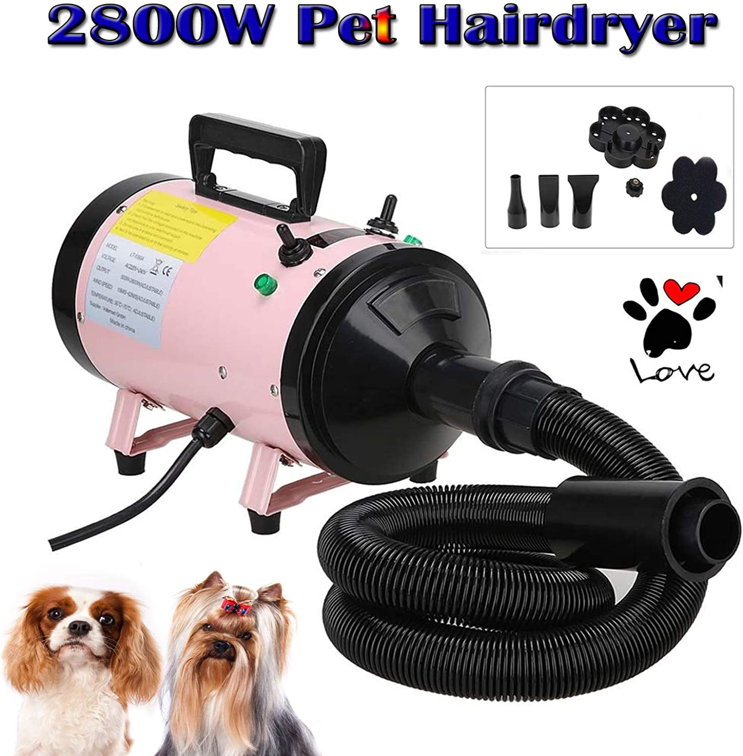 2800W Pet Grooming Hair Dryer Professional High Velocity Dog Cat Hairdryers Low Noise Dryer Blaster Fur Blower with 2 Speed Adjustable(Pet Supplies, Pink)