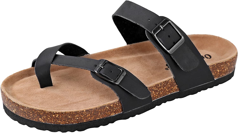 OUTWOODS Women's Bork-30 Vegan Leather Slide On Toe Loop Sandals, Black 6