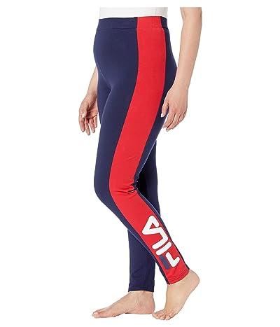 Fila Macarena High-Waisted Leggings (Peacoat/Chinese Red/White) Women