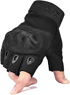 REEBOW GEAR Military Fingerless Hard Knuckle Tactical Gloves Half Finger for Motorcycle Driving Riding Army Gear Sport Shooting Airsoft Paintball