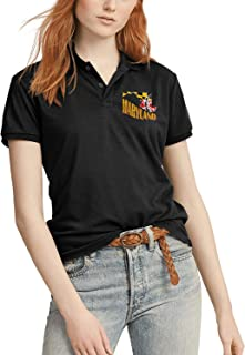 Maryland Flag & State Women Short Sleeve Polo T-Shirt Comfortable Navy T Shirt