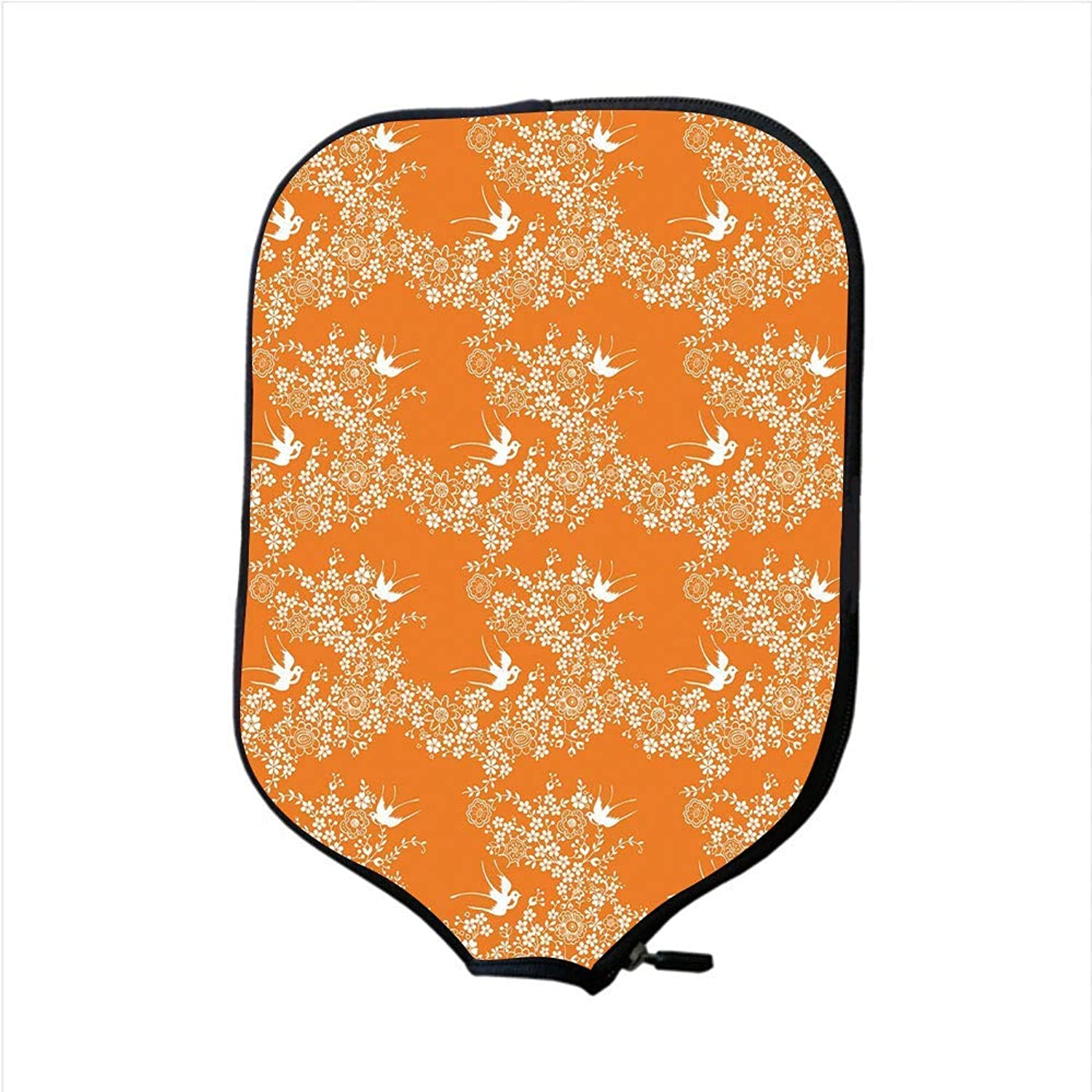 Fine Neoprene Pickleball Paddle Racket Cover Case,orange,Asian Style Spring Meadow Pattern with Branches in Full Blossom with Birds Nature,orange White,Fit for Most Rackets