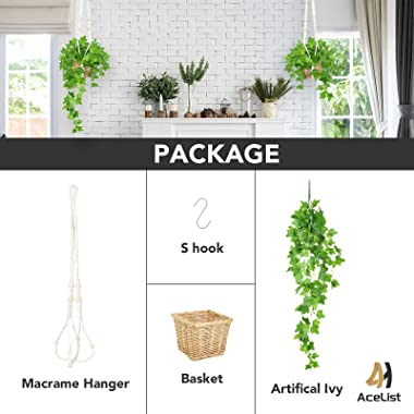 AceList Fake Ivy with Macrame Hanger Set, Artificial Hanging Plants with Basket Holders for Home Bedroom Patio Office Decorat