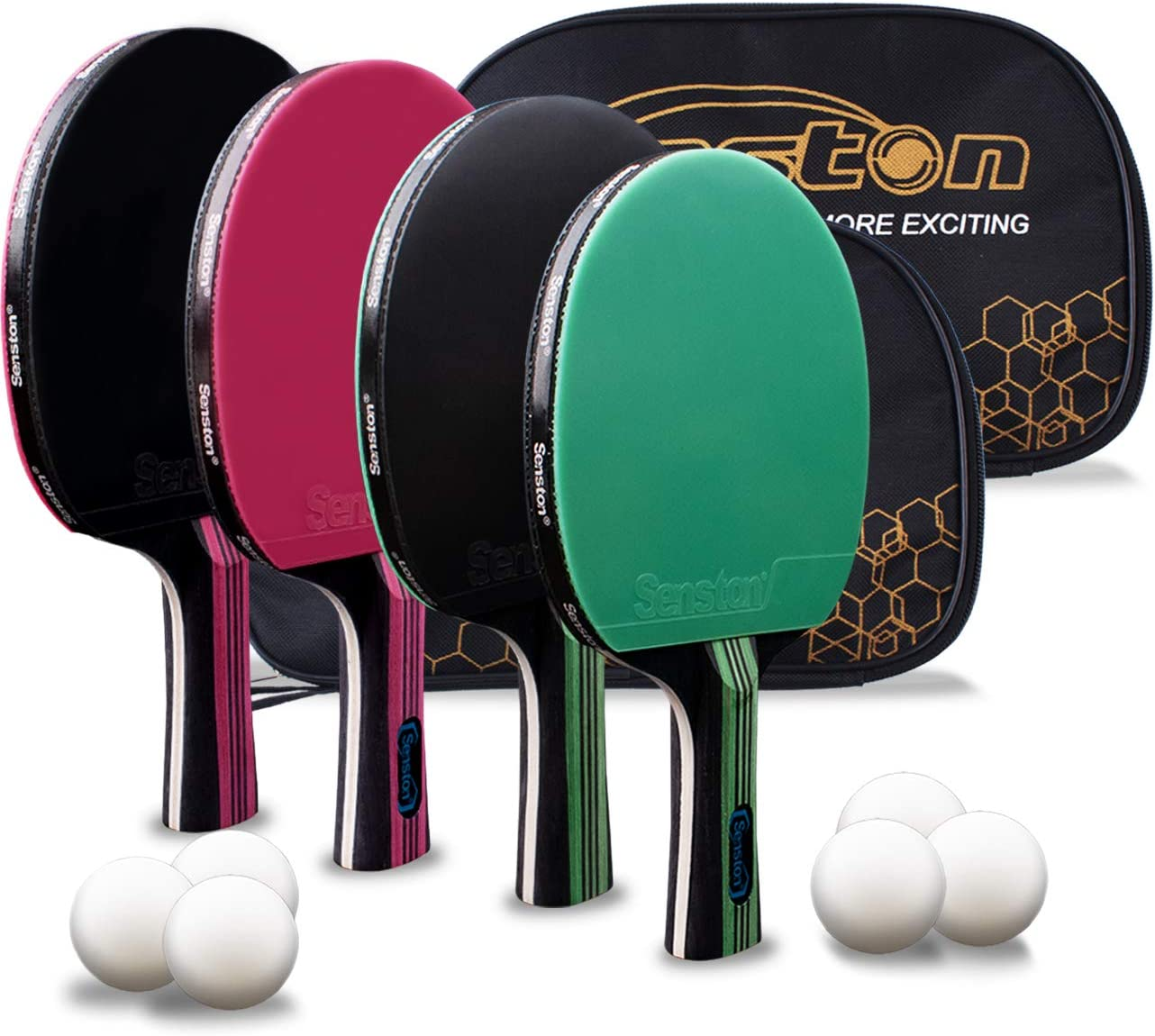 Senston 4 Table Tennis Bats and 6 Balls Professional Ping Pong Racket Set wi...