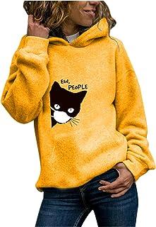 Janly Clearance Sale Women's Long Sleeve Tops, Womens Cat Long Sleeve Hoodie Sweatshirt Hooded Pullover Tops Blouse, Women...