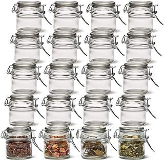 EZOWare Pot à Épices en Verre avec Couvercle Hermétique à Charnière, Pot de Conservation, Bocaux de Rangement, Organisatio...