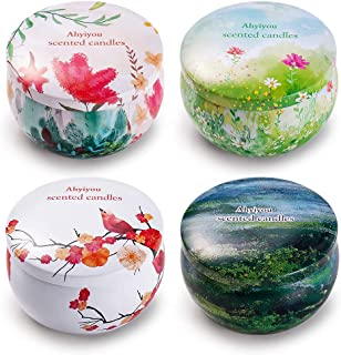 Ahyiyou Scented Candles, 100% Soy Wax Tin Candles, Natural Fragrance Candles for Stress Relief and Aromatherapy - 4 Pack Gift Set (Jasmine, Rose, Vanilla, Rosemary)