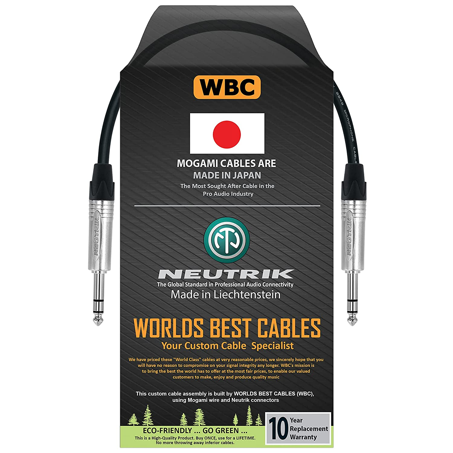 1 Foot - Balanced TRS Patch Cable Made WORLDS Arlington Mall CAB Custom BEST Opening large release sale by