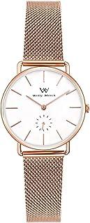Welly Merck Rose Gold Women's Mesh Watch Swiss Quartz Waterproof Luxury Slim Wrist Watch with Mesh Interchangeable Strap