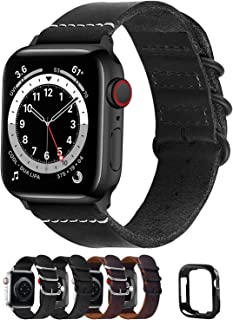 Fullmosa Compatible for Apple Watch Band 40mm 38mm 42mm 44mm,Leather NATO Strap for iWatch SE & Series 6/5/4/3/2/1,Black,4...