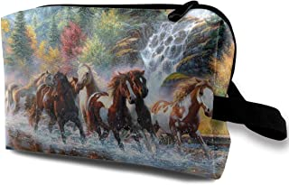 Portable Waterproof Travel Cosmetic Bag - Handsome Horses Groups Painting Lady Makeup Organizer Clutch Bag with Zipper - Travel Toiletry Storage Pouch Pencil Holder