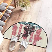SEMZUXCVO Printed Door mat American Flag Decor Abstract USA Patriot Sign 4th of July Country Coat of Arms Decor Quick and Easy to Clean W30 x L18 Pink Light Blue