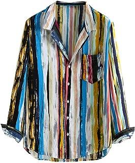 HEJANG Men's Long Sleeve Slim Lapel Hawaii Holiday Print Button Geometric Shirt Blouse Tops