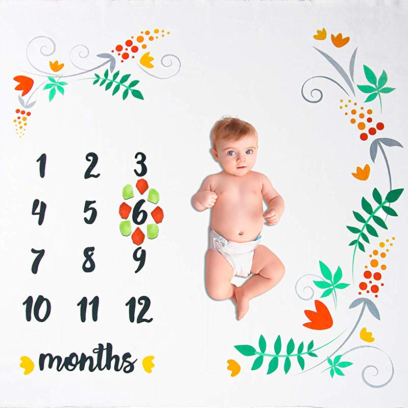 Fleece Milestone Baby Blanket For Capturing Precious Newborn Memories 54 X50 Monthly Photo Blanket With Original Design Is Great For Girl Boy Or Twins Thoughtful Baby Shower Gift For Mom To Be