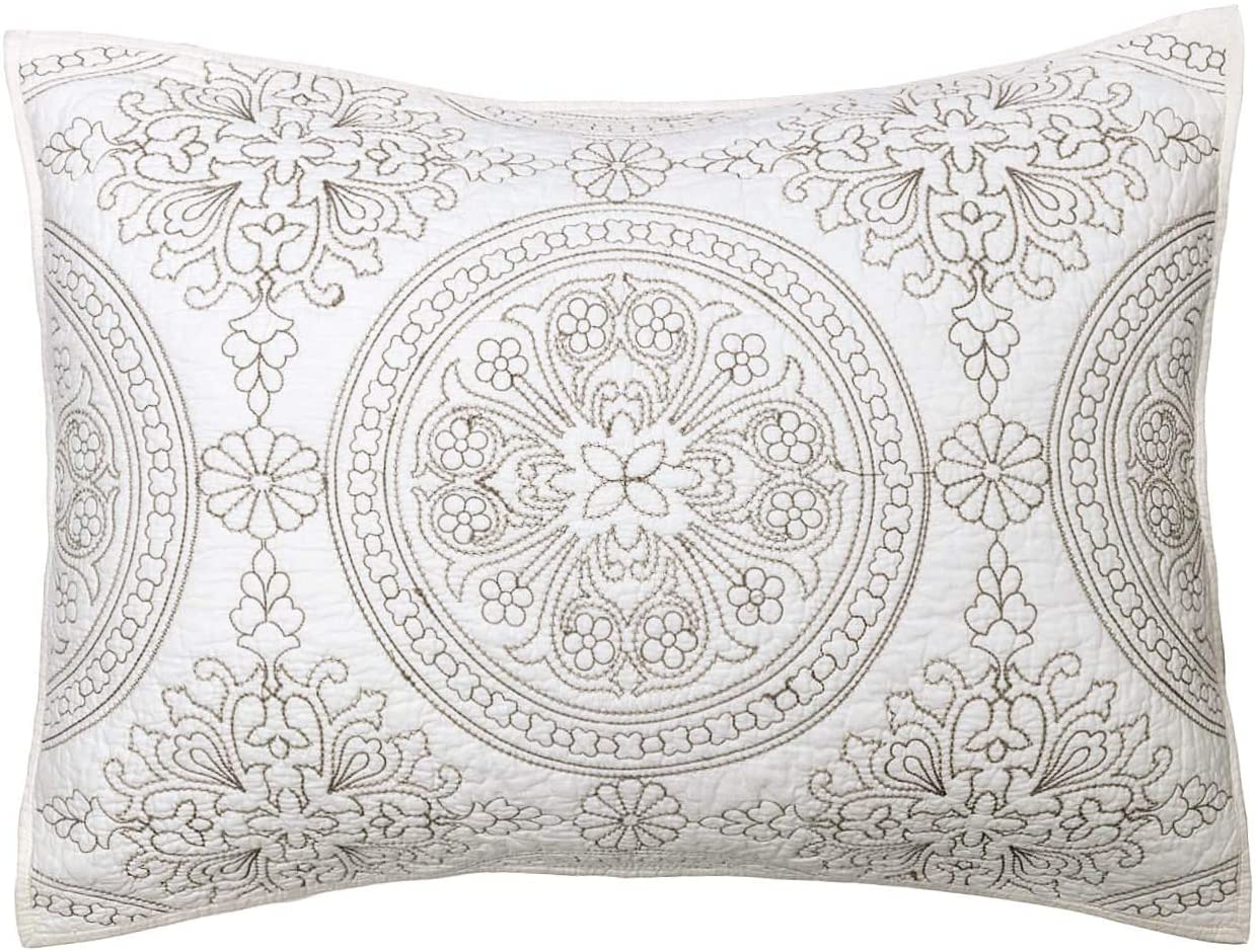 ELEGANT LIFE HOME 100% Cotton Medallion Embroidered Standard Pillow Sham 20'' x 26'', Ivory