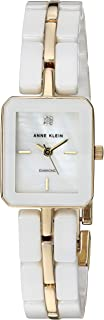 Anne Klein Women's AK/3304WTGB Diamond-Accented Gold-Tone and White Ceramic Bracelet Watch