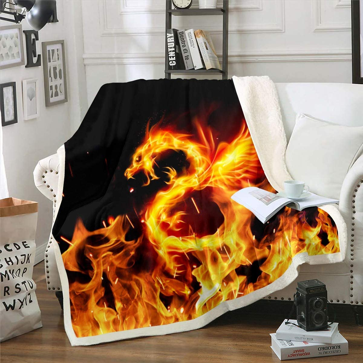 Kids Plush Blanket 新作からSALEアイテム等お得な商品 満載 Fire Dragon Pattern Chic 数量限定アウトレット最安価格 Throw Fleece
