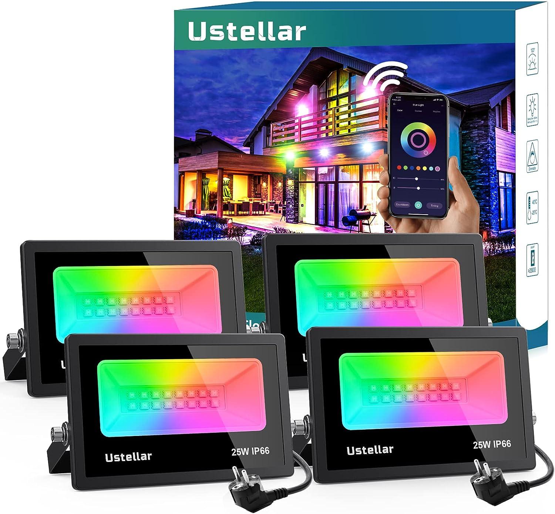 Ustellar Focos LED Inteligentes RGB 25W, 4 Piezas Multicolor Luz de Inundación Exterior Control de APP, Sincronizar Música, Proyector Regulable 16 Millones Colores para Jardín Paisaje Fiesta