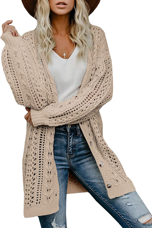 Saodimallsu Women Open Front Lightweight Cardigans Boho Oversized Sheer Long Sleeve Cable Knit Kimono Sweaters